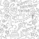 Modello senza cuciture in bianco e nero di scarabocchio del partito di buon compleanno Fotografia Stock Libera da Diritti