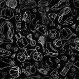 Modello senza cuciture in bianco e nero di scarabocchio di forma fisica e di sport Fotografia Stock Libera da Diritti