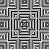 Modello senza cuciture in bianco e nero geometrico di illusione ottica Immagini Stock Libere da Diritti