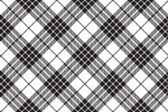 Modello senza cuciture bianco nero diagonale del tartan di Cameron del clan Fotografie Stock