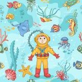 Modello senza cuciture blu con l'operatore subacqueo Fotografia Stock Libera da Diritti