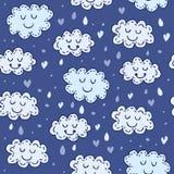 Modello senza cuciture blu con le nuvole sveglie Fotografia Stock