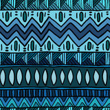 Modello senza cuciture blu etnico Stampa del tessuto dell'estratto di Boho Fotografia Stock