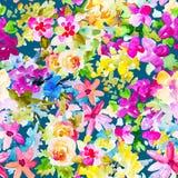 Modello senza cuciture botanico floreale dell'acquerello Buon per stampare Immagini Stock