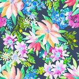 Modello senza cuciture botanico floreale dell'acquerello Buon per stampare Fotografie Stock