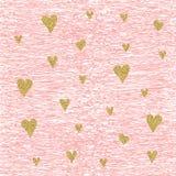 Modello senza cuciture brillante del cuore dell'oro di vettore illustrazione vettoriale