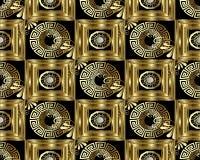 Modello senza cuciture chiave greco dell'oro 3d di meandro Geom astratto di vettore illustrazione di stock
