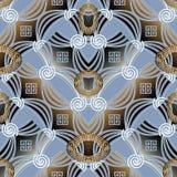 Modello senza cuciture chiave greco geometrico astratto Vettore 3d moderno Fotografia Stock Libera da Diritti
