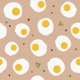 Modello senza cuciture classico dell'uovo fritto del pasto della prima colazione Fotografie Stock