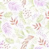 Modello senza cuciture colorato di vettore delle foglie tropicali Fotografia Stock