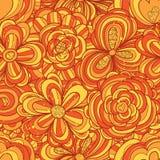 Modello senza cuciture completo di scintillio arancio del fiore illustrazione di stock