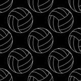 Modello senza cuciture con bianco dell'illustrazione di vettore di pallavolo su fondo nero illustrazione di stock