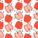 Modello senza cuciture con capsico - peperone dolce rosso Progettazione piana moderna royalty illustrazione gratis