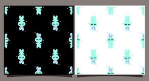 Modello senza cuciture con coniglio blu Mattonelle su un fondo in bianco e nero Personaggio dei cartoni animati sveglio del conig royalty illustrazione gratis