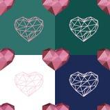 Modello senza cuciture con cuore poligonale ed il cuore di contorno Immagine Stock