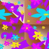 Modello senza cuciture con degli gli elementi colorati multi sotto forma di fiori stilizzati e di punti astratti illustrazione vettoriale