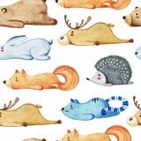 Modello senza cuciture con differenti animali svegli Animali pigri Wate royalty illustrazione gratis