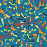 Modello senza cuciture con differenti belle scarpe su fondo blu Vector l'illustrazione con i sandali, le scarpe ed i talloni Tile Fotografie Stock Libere da Diritti