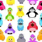 Modello senza cuciture con differenti uccelli in uno stile del fumetto Fotografia Stock