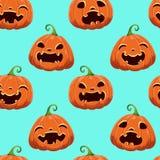 Modello senza cuciture con differenti zucche di Halloween su fondo blu Illustrazione di vettore Per scrapbooking, regali illustrazione di stock