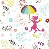 Modello senza cuciture con gattino, l'ombrello ed i fiori svegli su fondo bianco Stampi per tessuto, la carta da parati, cartolin illustrazione di stock