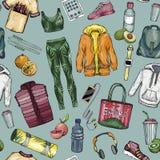 Modello senza cuciture con gli abiti sportivi e l'insieme sano di stile di vita illustrazione vettoriale