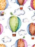 Modello senza cuciture con gli aerostati e le nuvole nei colori pastelli Immagine Stock Libera da Diritti