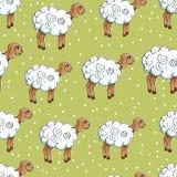 Modello senza cuciture con gli agnelli su un prato verde ENV, JPG Fotografia Stock Libera da Diritti