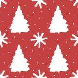 Modello senza cuciture con gli alberi di Natale ed i fiocchi di neve Lerciume, schizzo, acquerello illustrazione vettoriale