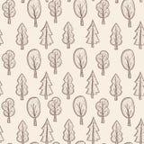 Modello senza cuciture con gli alberi sull'imballaggio di eco Fotografia Stock