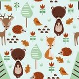 Modello senza cuciture con gli animali della foresta - illustrazione di vettore, ENV royalty illustrazione gratis