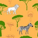 Modello senza cuciture con gli animali della savanna Immagine Stock Libera da Diritti