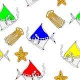 Modello senza cuciture con gli animali di mare illustrazione di stock