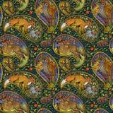Modello senza cuciture con gli animali etnici della foresta di motivo illustrazione di folclore dell'acquerello fondo dell'elemen fotografia stock libera da diritti