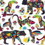 Modello senza cuciture con gli animali messicani ed i fiori Vect Immagini Stock Libere da Diritti