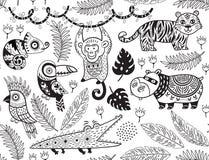 Modello senza cuciture con gli animali tropicali nello stile monocromatico illustrazione di stock