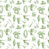 Modello senza cuciture con gli elementi di giardinaggio disegnati a mano Immagini Stock Libere da Diritti