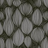Modello senza cuciture con gli elementi rotondi astratti nel colore grigio su fondo nero Fotografia Stock Libera da Diritti