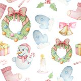 Modello senza cuciture con gli elementi tradizionali di Natale illustrazione vettoriale