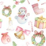 Modello senza cuciture con gli elementi tradizionali di Natale illustrazione di stock