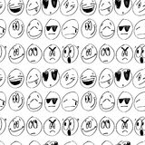 Modello senza cuciture con gli emoticon monocromatici descritti Illustrazione di vettore Fondo con i segni del fumetto di differe Fotografia Stock Libera da Diritti