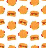 Modello senza cuciture con gli hamburger Carta da parati degli alimenti a rapida preparazione Immagini Stock Libere da Diritti