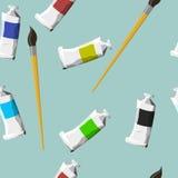 Modello senza cuciture con gli oggetti artistici su fondo Fotografia Stock