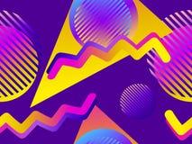Modello senza cuciture con gli oggetti geometrici nello stile di Memphis degli anni 80 Forme di pendenza Retro fondo di Synthwave illustrazione di stock