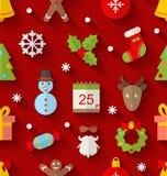 Modello senza cuciture con gli oggetti variopinti di Natale Fotografia Stock