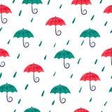 Modello senza cuciture con gli ombrelli variopinti dell'acquerello Fotografia Stock Libera da Diritti