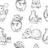 Modello senza cuciture con gli orsi di Natale disegnati a mano Immagine Stock
