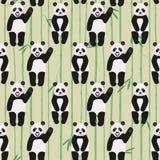 Modello senza cuciture con gli orsi di panda divertenti, illustrazione di vettore illustrazione vettoriale