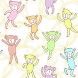 Modello senza cuciture con gli orsi divertenti di dancing Fotografia Stock Libera da Diritti