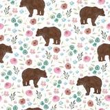 Modello senza cuciture con gli orsi ed i fiori svegli illustrazione vettoriale